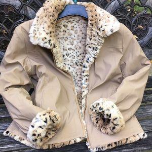 Jackets & Blazers - NWOT faux fur/faux leather reversible jacket sz M